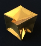 'Golden Cube' (Boy), 26x26x26cm, stainless steel, gold transparent, 2015